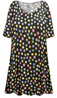 CLEARANCE! Plus Size Rainbow Dots Print Extra Long Poly/Cotton T-Shirts 2x 6x