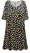 SOLD OUT! Plus Size Rainbow Dots Print Extra Long Poly/Cotton T-Shirts 2x 6x