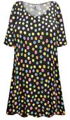 SOLD OUT! Plus Size Rainbow Dots Print Extra Long Poly/Cotton T-Shirts 4x