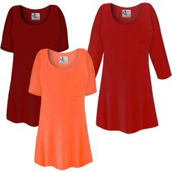 FINAL CLEARANCE SALE! Plus Size Red or Orange Slinky Top 1x 3x 6x