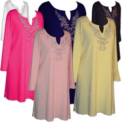 FINAL CLEARANCE SALE! Plus Size Rhinestone Extra Long Poly/Cotton Shirts 3x