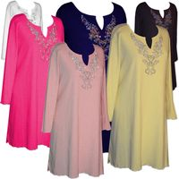 CLEARANCE! Plus Size Rhinestone Extra Long Poly/Cotton or Slinky Shirts  4x 6x