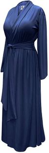 CLEARANCE! Navy Plus Size Robe with Attached Belt! Poly/Cotton, Soft Rayon or Softer Brushed Jersey Knit Robes LG XL