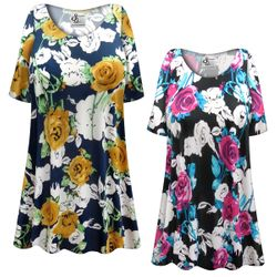 CLEARANCE! Plus Size Roses Slinky Print Short or Long Sleeve Shirts - Tunics - Tank Tops 5x