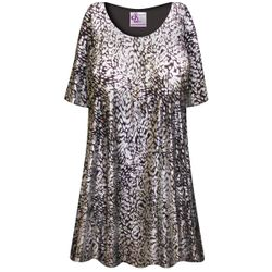 SOLD OUT! Plus Size Silver & Black Sparkly Sequins Slinky Print Tops