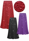 CLEARANCE! Plus Size Sparkling Black Glitter Crinkle Slinky Print Skirts - Sizes 6x