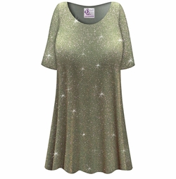 CLEARANCE! Plus Size Sparkling Olive Glitter Slinky Print Short or Long Sleeve Shirts - Tunics - Tank Tops 4x