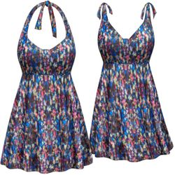 CLEARANCE! Plus Size Star Bright Print Halter or Shoulder Strap 2pc Swimsuit/SwimDress 5x 7x