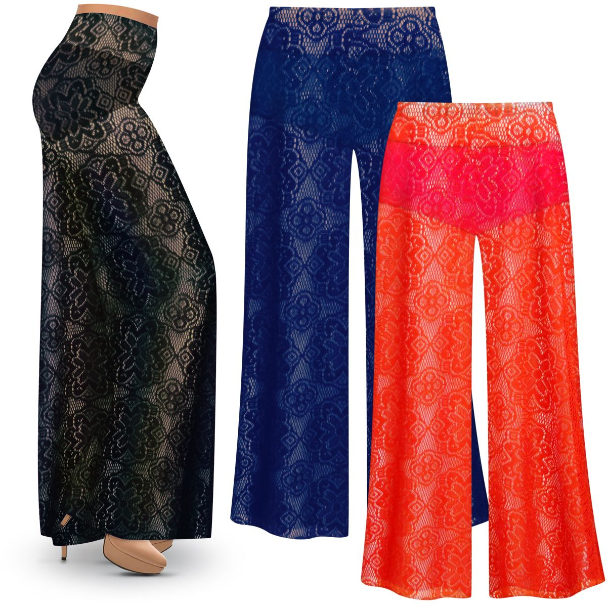 Sold Out Plus Size Stretchy Crochet Lace Palazzo Pants Swimsuit