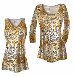 SOLD OUT! Plus Size Tan With Gold Metallic Little Leopard Spots Horizontal Slinky Print Tops  5x