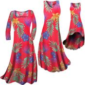 CLEARANCE! Plus Size Tropical Flowers Slinky Print Short or Long Sleeve Dresses & Tanks - Sizes 3x