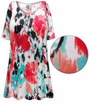 CLEARANCE! Plus Size Valentina Abstract Slinky Print Short or Long Sleeve Shirts - Tunics - Tank Tops - Sizes 1x