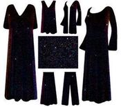 CLEARANCE! Pretty Black with Multi Glimmer Slinky Plus Size & Supersize Customizable Dresses, Shirts, Pants, Skirts  or Jackets 0x