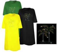 SOLD OUT! Pretty Palm Tree Pair Sparkly Rhinestuds Plus Size & Supersize T-Shirts 4x