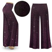 CLEARANCE! Purple Glimmer Slinky Print Plus Size & Supersize Palazzo Pants - Leggings - Capri's 4x