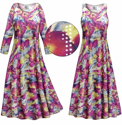 SOLD OUT! Purple & Lime Floral With Sparkles Slinky Print Plus Size & Supersize Short or Long Sleeve Dresses & Tanks - Sizes 1x