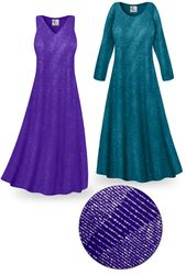 SOLD OUT! Purple or Teal Glitter Slinky Print Plus Size & Supersize Short or Long Sleeve Dresses & Tanks 3x