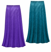 CLEARANCE! Purple or Teal Glitter Slinky Print Plus Size & Supersize Skirts - Size 3x