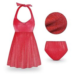 SOLD OUT! Red Glimmer Halter or Shoulder Strap 2pc Plus Size Swimsuit/SwimDress