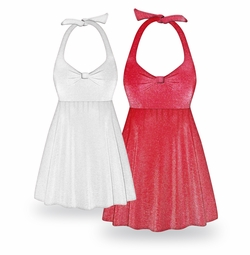 FINAL CLEARANCE SALE! Plus Size Red or White Glimmer Halter Style Swimsuit / SwimDress 1x 2x