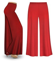 SOLD OUT! Plus Size Red Wide Leg Palazzo Pants in Slinky, Velvet or Cotton Fabric