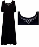 CLEARANCE! Rhinestone Black Princess Cut or A/Line Plus Size & Supersize Dresses 2x 3x