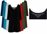 CLEARANCE! Rhinestone Solid Color Slinky Plus Size & Supersize Shirts 3x 6x