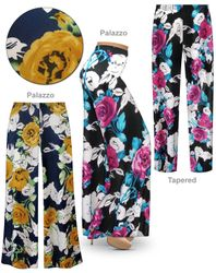 SOLD OUT! Roses Slinky Print Plus Size & Supersize Palazzo Pants - Tapered Pants