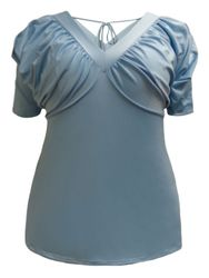 CLEARANCE SALE! Plus Size Blue Slouchy Shoulder V-Neck Blouse Top Size 1x, 3x