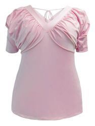 CLEARANCE SALE! Plus Size Light Pink Slouchy Shoulder V-Neck Blouse Top Size 1x, 3x