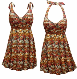 FINAL CLEARANCE SALE! Plus Size Sedona Print Straps Style Swimsuit / SwimDress 0x
