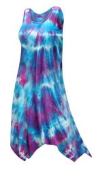 CLEARANCE! Sharktail Hem Tie Dye Cotton Jersey Swimsuit Cover Up Dresses & Shirts Plus Size Supersize 1x 3x