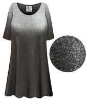 SOLD OUT! Shiny Black Plus Size & Supersize Extra Long Poly/Cotton T-Shirts   5x