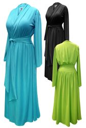 CLEARANCE! Solid Color Poly/Cotton Robe With Attached Belt - Plus Size Supersize 0x 1x 8x