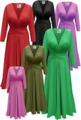 CLEARANCE! Solid Color Slinky Plus Size Midi Dress with Wrap Around Belt/Sash 4x