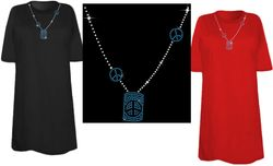 CLEARANCE! Sparkly Rhinestud Rhinestone Blue & Silver Peace Sign Necklace Neckline Plus Size & Supersize T-Shirts 3x