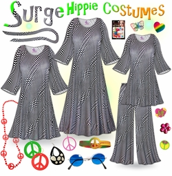FINAL CLEARANCE SALE! Surge Print Plus Size Hippie Costume - 60's Style Retro Dress or Top & Wide-Bottom Pant Set Plus Size & Supersize Halloween Costume Kit 1x 4x 8x