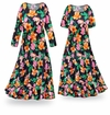 FINAL CLEARANCE SALE! Sweet Lilies Slinky Print Plus Size & Supersize Short or Long Sleeve Dresses 0x 1x