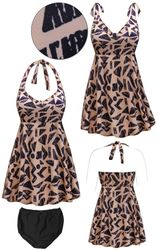 CLEARANCE! Tan & Black Abstract Print Halter or Shoulder Strap 2pc Plus Size Swimsuit/SwimDress 2x