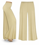 CLEARANCE! Plus Size Tan Wide Leg Palazzo Pants in Slinky, Velvet or Cotton Fabric 1x