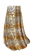 CLEARANCE! Tan With Gold Metallic Little Leopard Spots Horizontal Slinky Print Plus Size & Supersize Skirts 2x