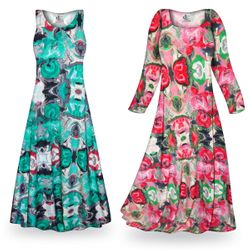 CLEARANCE! Tango Slinky Print Plus Size & Supersize Short or Long Sleeve Dresses & Tanks - Sizes 1x 2x