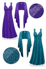 CLEARANCE! Teal Glitter Slinky Plus Size & Super Size Princess Seam Dress Set 3x