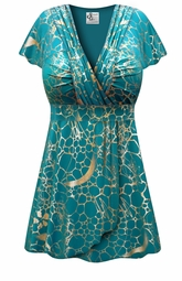 FINAL CLEARANCE SALE! Teal With Gold Metallic Slinky MAGIC BABYDOLL Top In Plus Size & Supersize 1x  8x