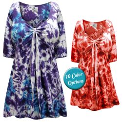FINAL CLEARANCE SALE! Tie Babydoll Cotton Shirt In Marble Tie Dye Plus Size & Supersize 1x 3x