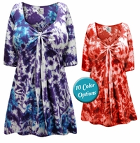 CLEARANCE! Tie Babydoll Cotton Shirt In Marble Tie Dye Tops Plus Size & Supersize L 1x 3x 7x