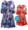 CLEARANCE! Tie Babydoll Cotton Shirt In Marble Tie Dye Tops Plus Size & Supersize L 1x