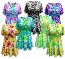 SOLD OUT! Tie Dye Mock Button Short Sleeve Cotton Lycra Top Plus Size & Supersize 3x 4x