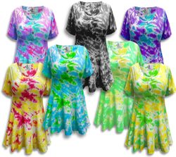 CLEARANCE! Tie Dye Mock Button Short Sleeve Cotton Lycra Top Plus Size & Supersize 3x 4x
