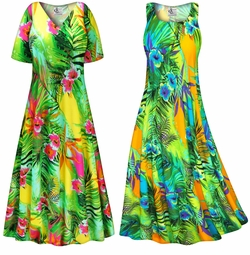 SOLD OUT! Tropical Gardens Slinky Print Plus Size & Supersize Dress LG
